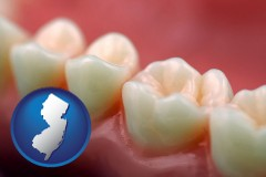 new-jersey map icon and teeth and gums