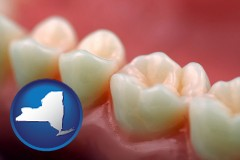 new-york map icon and teeth and gums
